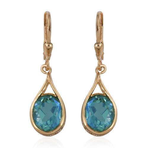 Peacock Quartz (Ovl) Lever Back Earrings in 14K Gold Overlay Sterling Silver 5.750 Ct.