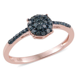 Blue Diamond (Rnd) Ring in Rose Gold Overlay Sterling Silver 0.250 Ct.