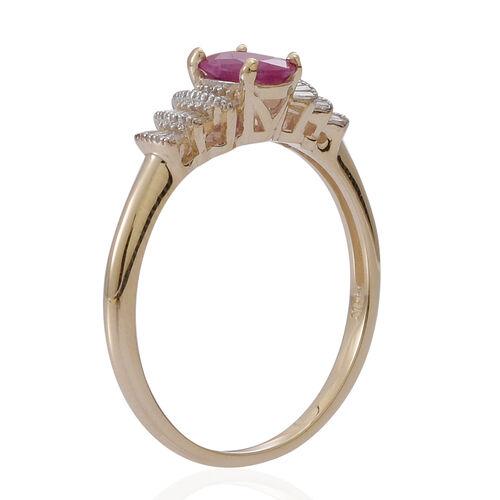 9K Y Gold Burmese Ruby (Ovl 1.00 Ct), Diamond Ring 1.250 Ct.