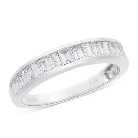 ILIANA 18K W Gold IGI Certified Diamond (Bgt) (SI/G-H) Half Eternity Band Ring 1.000 Ct.