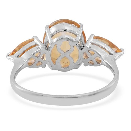 Citrine (Ovl 3.25 Ct) Ring in Rhodium Plated Sterling Silver 5.000 Ct.