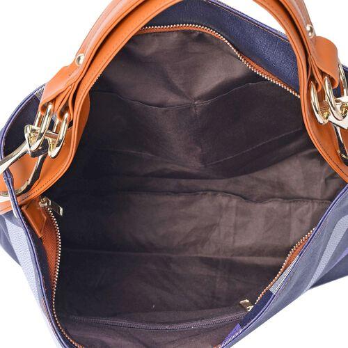 Midnight Blue Checks Pattern Handbag (Size 43x32.5x12 Cm)