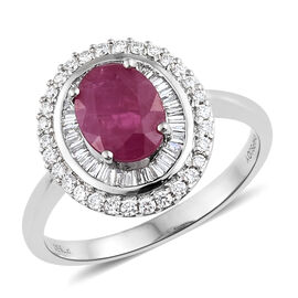 RHAPSODY 950 Platinum AAAA Burmese Ruby (Ovl 2.00 Ct), Diamond (VS/ E-F) Ring 2.500 Ct.
