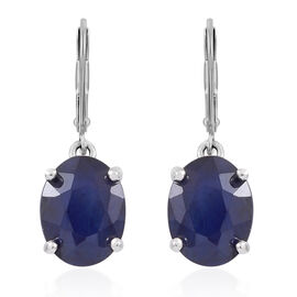 Madagascar Blue Sapphire (Ovl) Lever Back Earrings in Rhodium Plated Sterling Silver 3.500 Ct.
