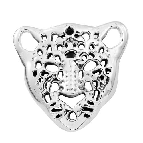 Vicenza Collection Sterling Silver Leopard Face Pendant, Silver wt. 12.00 Gms.