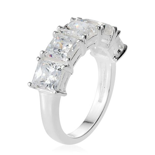 J Francis - Sterling Silver Princess Cut (Sqr) 5 Stone Ring Made with SWAROVSKI ZIRCONIA