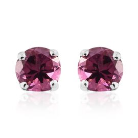 9K White Gold 0.50 Carat AA Pink Tourmaline (Rnd) Stud Earrings (with Push Back)