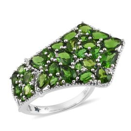 GP Russian Diopside, Natural Cambodian Zircon and Kanchanaburi Blue Sapphire Cluster Ring in Platinum Overlay Sterling Silver 7.250 Ct. Silver wt 5.47 Gms.