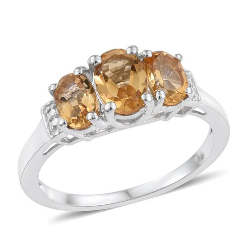 Citrine (Ovl 0.75 Ct) 3 Stone Ring in Platinum Overlay Sterling Silver 1.750 Ct.