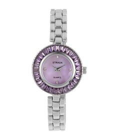 STRADA Japanese Movement Purple MOP Dial with White Austrian Crystal Studded and Simulated Amethyst Water Resistant Watch in Silver Tone with Chain Strap