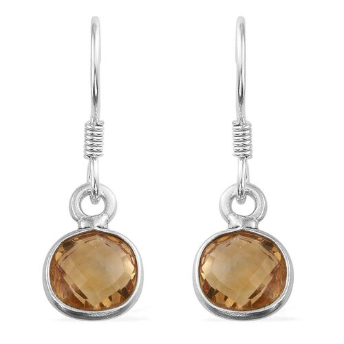 Citrine (Sqr) Hook Earrings in Sterling Silver 5.390 Ct.