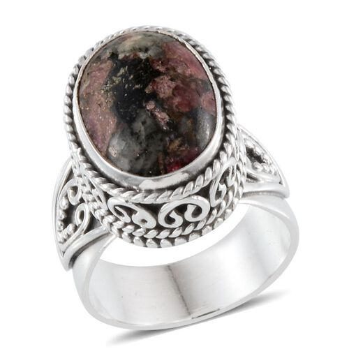 Jewels of India Eudialyte (Ovl) Solitaire Ring in Sterling Silver 9.920 Ct.
