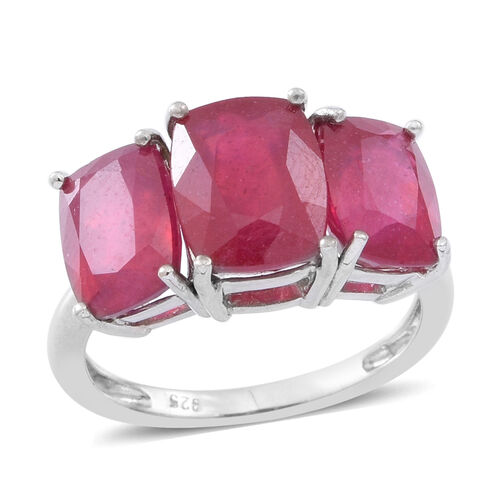 African Ruby (Cush 3.25 Ct) 3 Stone Ring in Rhodium Plated Sterling Silver 6.750 Ct.
