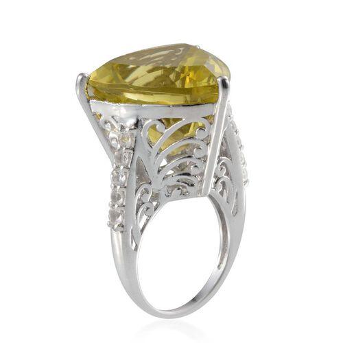Brazilian Green Gold Quartz (Trl 25.00 Ct), White Topaz Ring in Platinum Overlay Sterling Silver 25.750 Ct.