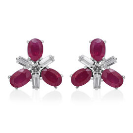 African Ruby (Ovl), White Topaz Stud Earrings (with Push Back) in Rhodium Plated Sterling Silver 4.940 Ct.
