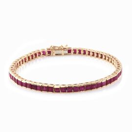 9K Yellow Gold AAA Princess Cut Burmese Ruby Tennis Bracelet (Size 7.5) 12.000 Ct. Gold Wt 9.70 Gms