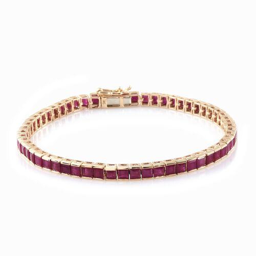 12 Carat AAA Princess Cut Burmese Ruby Tennis Bracelet in 9K Gold 7.5 Inch 9.70 gms