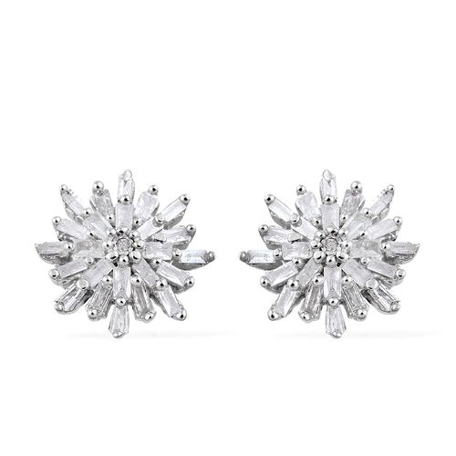 Diamond (Rnd and Bgt) Starburst Stud Earrings (with Push Back) in Platinum Overlay Sterling Silver 0.330 Ct.