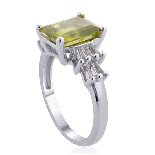 Hebei Peridot (Oct 3.50 Ct), White Topaz Ring in Platinum Overlay Sterling Silver 3.840 Ct.