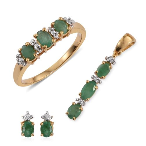Kagem Zambian Emerald (Ovl) Trilogy Ring, Pendant and Stud Earrings (with Push Back) in 14K Gold Overlay Sterling Silver 1.250 Ct.