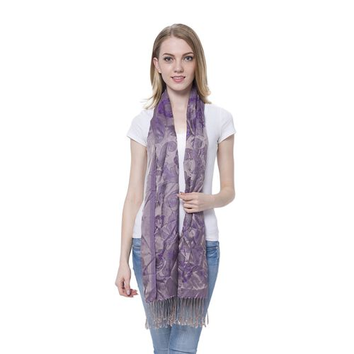 Purple and Grey Colour Blooming Rose Pattern Purple Colour Scarf with Tassels (Size 180x70 Cm)
