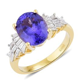 ILIANA 18K Y Gold AAA Tanzanite (Ovl 4.00 Ct), Diamond (SI/G-H) Ring 4.500 Ct.