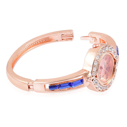 Designer Inspired STRADA Japanese Movement Bangle Watch (Size 7-8) in Rose Gold Tone with White Austrian Crystal and Simulated Blue Diamond