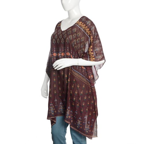 Burgundy, Yellow and Multi Colour Floral Printed Kaftan (Free Size)