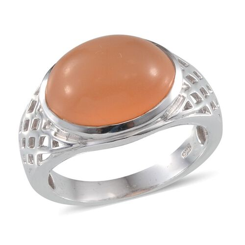 Mitiyagoda Peach Moonstone (Ovl) Solitaire Ring in Platinum Overlay Sterling Silver 7.750 Ct.