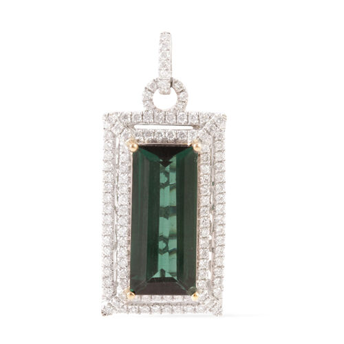 14K W Gold Monte Belo Indicolite (Oct 6.41 Ct), Diamond (I2/G-H) Pendant 7.330 Ct.