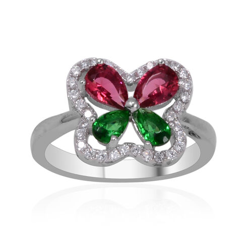 AAA Simulated Ruby (Pear), Simulated Emerald and Simulated White Diamond Ring in Sterling Silver, Silver wt 3.50 Gms.