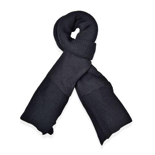 Black Colour Pull Through Scarf (Size 150x60 Cm)