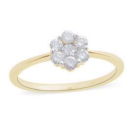 Limited Edition- 9K Y Gold SGL Certified Pressure-Set Diamond (Rnd) (I3/G-H) Floral Ring 0.500 Ct.