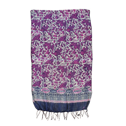 Purple Colour Batik Print 100% Silk Scarf (Size 150x45 Cm)