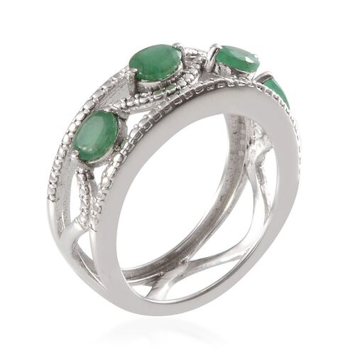 Kagem Zambian Emerald (Ovl), Diamond Ring in Platinum Overlay Sterling Silver 1.270 Ct.