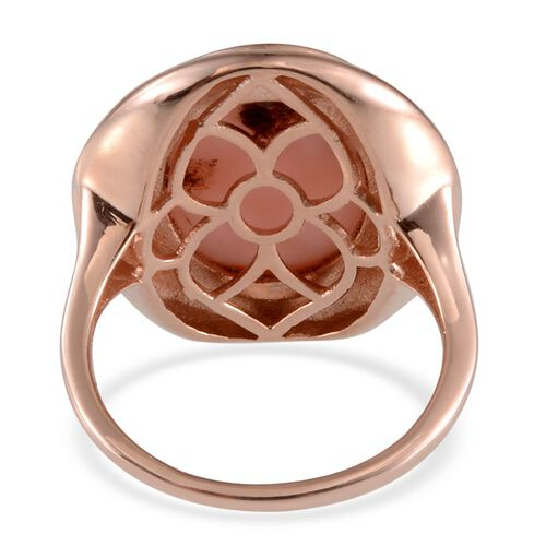 Peruvian Pink Opal (Ovl) Solitaire Ring in Rose Gold Overlay Sterling Silver 7.500 Ct.