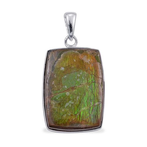Jewels of India Ammolite (Cush) Solitaire Pendant in Sterling Silver 28.200 Ct.