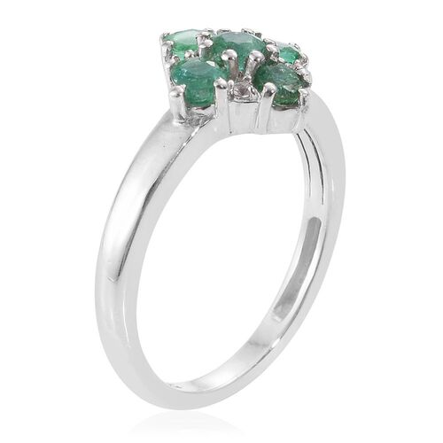 Brazilian Emerald (Rnd), Natural Cambodian Zircon Ring in Platinum Overlay Sterling Silver 0.750 Ct.