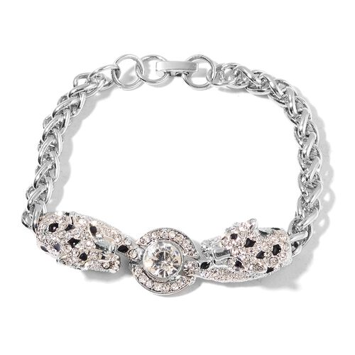 Designer Inspired AAA White Austrian Crystal and Simulated Diamond Enameled Leopard Head Bracelet (Size 8 with 1.5 inch Extender) in Silver Tone