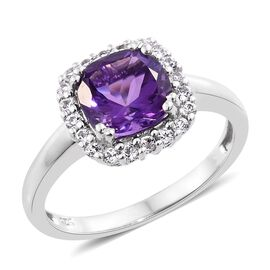 Amethyst (Cush 2.20 Ct), White Topaz Ring in Platinum Overlay Sterling Silver 2.500 Ct.
