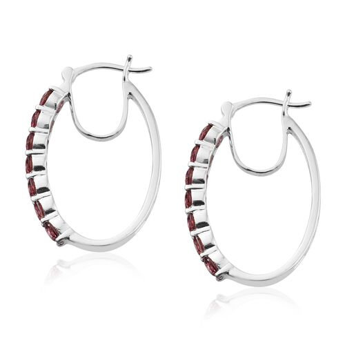 J Francis - Sterling Silver (Rnd) Hoop Earrings (with Clasp Lock) Made with Red SWAROVSKI ZIRCONIA, Silver wt 5.50 Gms.