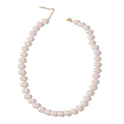 ILIANA 18K Yellow Gold AAAA High Lustre Fresh Water Natural White Pearl (11-12 mm) Ball Bead Necklace (Size 18 with 2 inch Extender)