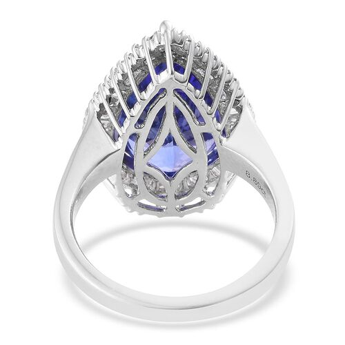 RHAPSODY 950 Platinum 9.79 Ct AAAA Tanzanite Pear Halo Ring with Diamond VS E-F