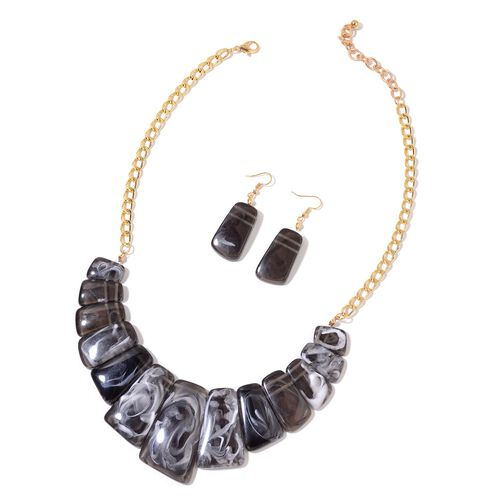 Simulated Grey Jasper Necklace (Size 18 with 2 inch Extender) and Hook Earrings in Yellow Gold Tone