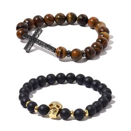 Set of 2 - Tigers Eye, Simulated Black Spinel, Simulated White Diamond and Black Colour Beads Cross and Skull Stretchable Bracelet (Size 7.5) in Black and Yellow Tone