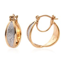 One Time Deal-Platinum and Yellow Gold Overlay Sterling Silver Hoop Earrings (with Clasp Lock), Silver wt 6.01 Gms.