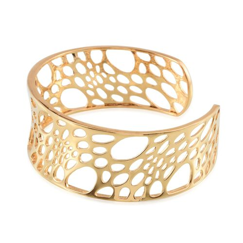 Cuff Bangle (Size 7.5) in ION Plated 18K Yellow Gold Bond