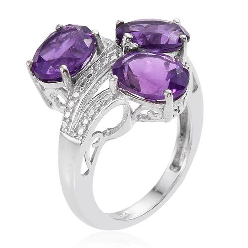 Lusaka Amethyst (Ovl) Trilogy Ring in Platinum Overlay Sterling Silver 5.500 Ct.