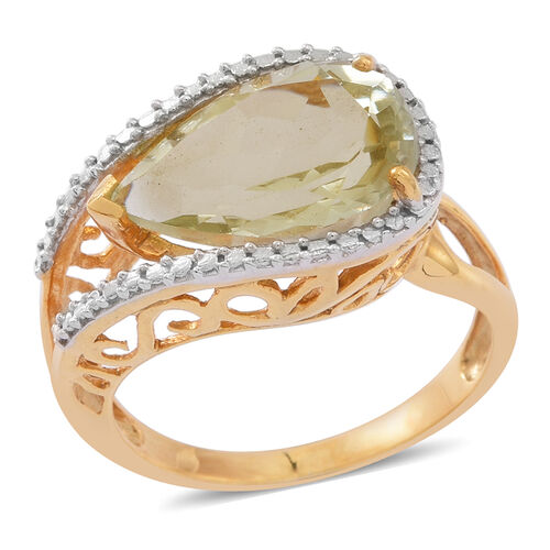 Green Amethyst (Pear) Solitaire Ring in 14K Gold Overlay Sterling Silver 5.000 Ct.