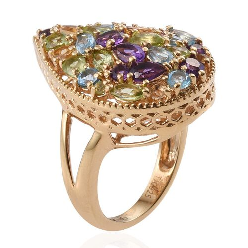 GP Hebei Peridot (Pear), Amethyst, Citrine, Electric Swiss Blue Topaz, Kanchanaburi Blue Sapphire and Multi Gem Stone Ring in 14K Gold Overlay Sterling Silver 8.50 Ct.